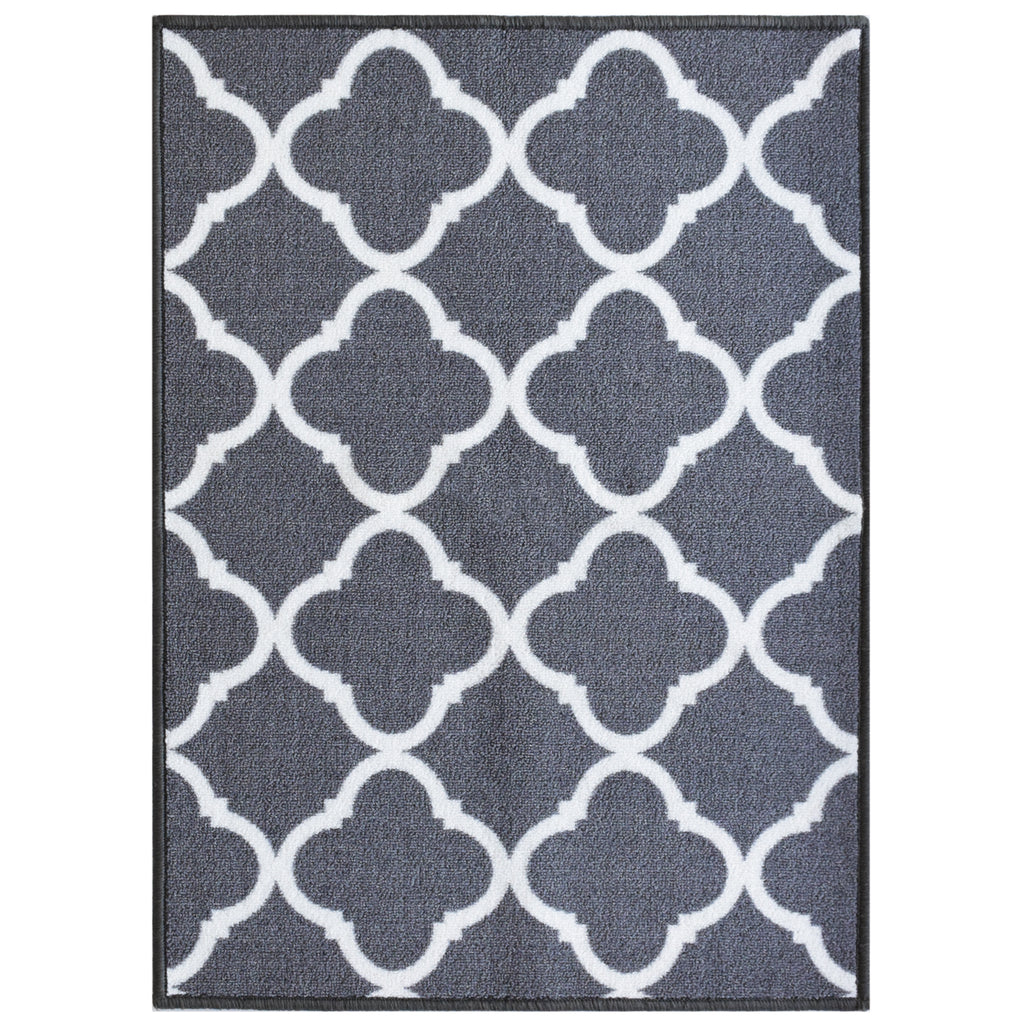 Decorative Area Rug and Carpet Runner for Stairs and Hallway, Trellis, Grey iCustomRug