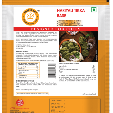 HARIYALI TIKKA BASE - CHEFS ART - 500gm