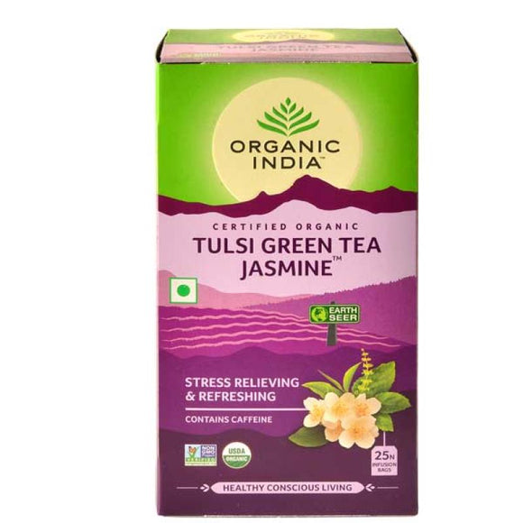 TULASI JASMINE GREEN TEA - 25 TEA BAGS - ORGANIC INDIA
