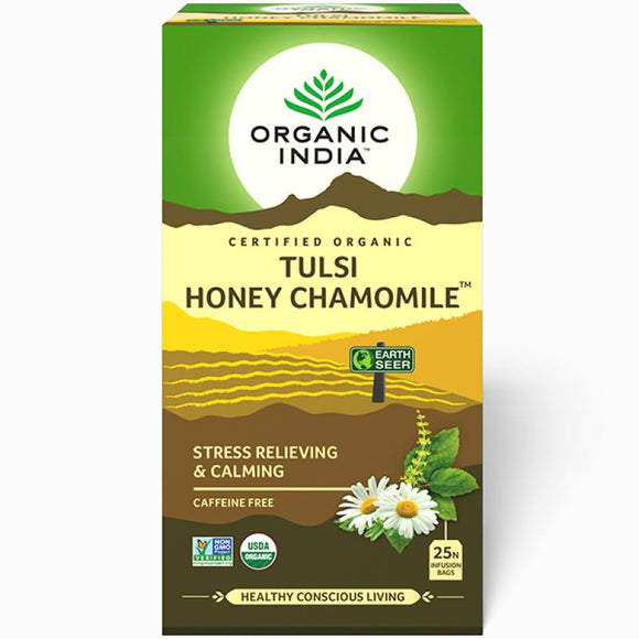 TULASI HONEY CHAMOMILE - 25 TEA BAGS - ORGANIC INDIA