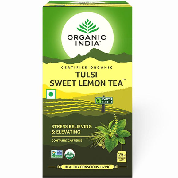 TULASI SWEET LEMON TEA - 25 TEA BAGS - ORGANIC INDIA