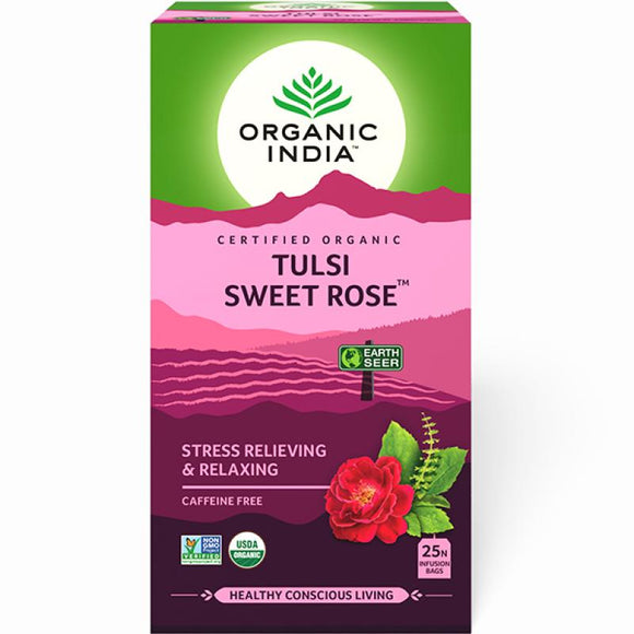 TULASI SWEET ROSE - 25 TEA BAGS - ORGANIC INDIA