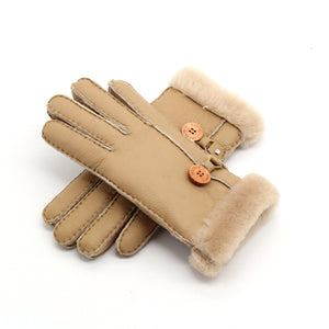 Thick Women's Fur Gloves with Button