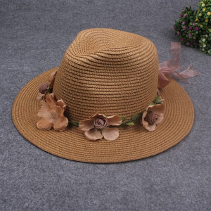 Summer women's flower straw hat