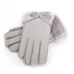 Winter Leather Gloves with Fur Bow