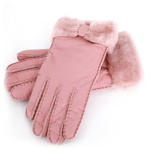 Load image into Gallery viewer, Winter Leather Gloves with Fur Bow