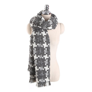 Maxi Houndstooth Winter Scarf -women