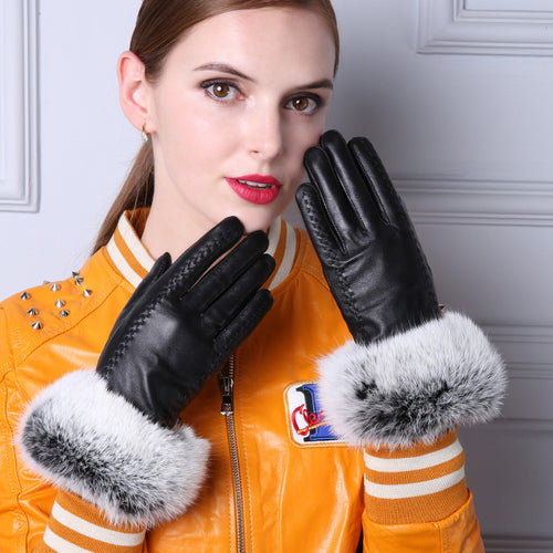 Cuir Genuine Leather Gloves with Fur Wrists | Touch Screen
