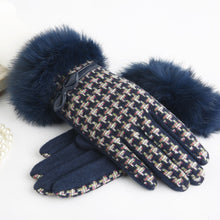 Load image into Gallery viewer, Cuir Chic Wool Knitted Gloves with Rabbit Fur | Touch Screen