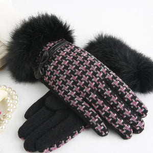 Cuir Chic Wool Knitted Gloves with Rabbit Fur | Touch Screen