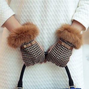 Cuir Tweed Wool Knitted Gloves with Rabbit Fur | Touch Screen