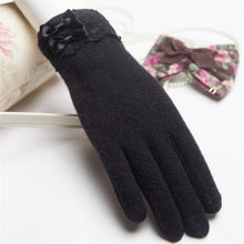Load image into Gallery viewer, Wool Knitted Winter Gloves with Lacy Wrist | Touch Screen