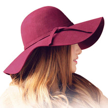 Load image into Gallery viewer, Women's large wave brim fedora hat
