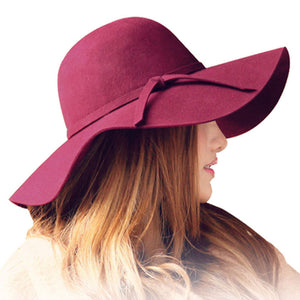 Women's large wave brim fedora hat