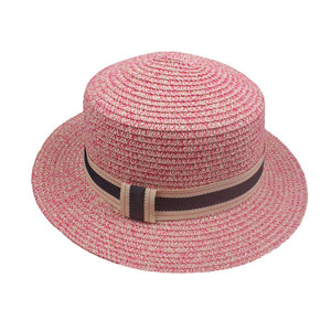 Vintage elegant women's straw hat with ribbon trim