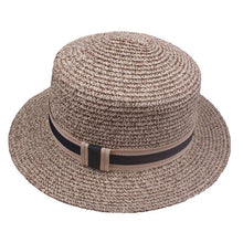 Load image into Gallery viewer, Vintage elegant women's straw hat with ribbon trim