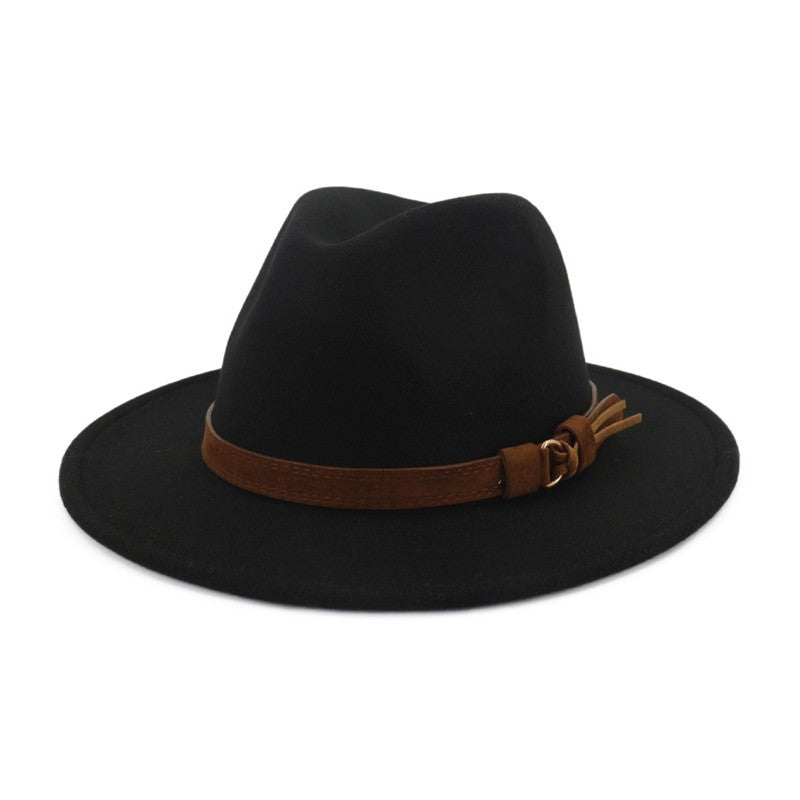 Women's wool fedora hat with leather ribbon