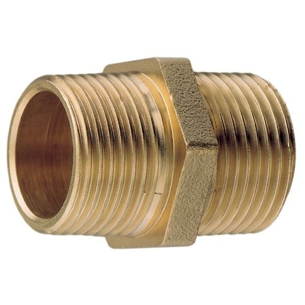 "Brass Equal Hex Nipple 1"" B.S.P."