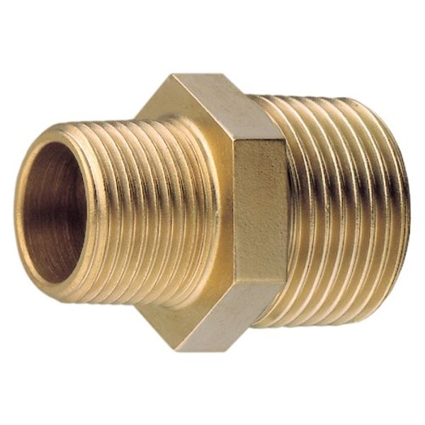 "Brass Unequal Nipple 3/8"" to 1/2"""
