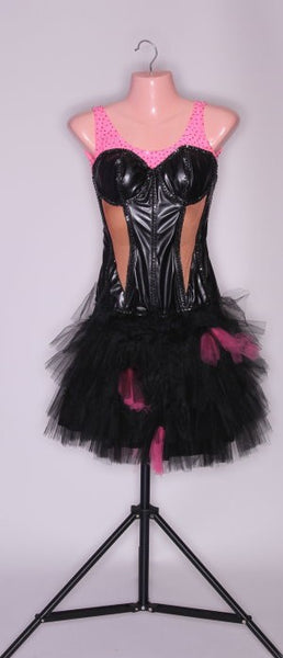 Black Leather Corset with Black/Pink Tulle Skirt - Dress by Randall Designs