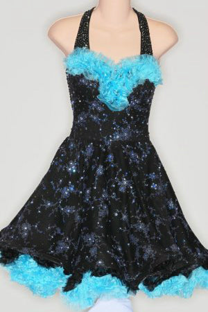 Black/Turquoise 50's with Ruffle Underskirt - Dress by Randall Designs