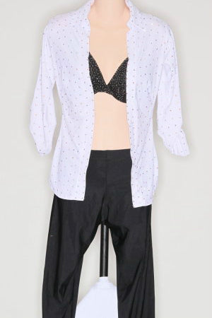 Two Piece Black Capri, Black Bra, White 3/4 Sleeve Shirt (Jive) - Pantsuit by Randall Designs