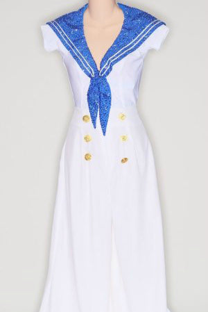 White Sailor Suit/ Blue Bib/ White Hat - Dress by Randall Designs