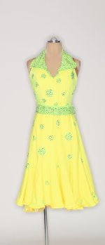 Lemon Halter with Lime Polka-Dots & Belt - Dress by Randall Designs