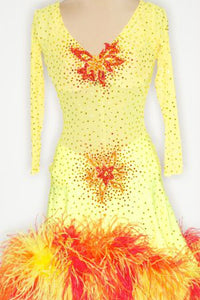 Yellow w/ Yellow/Orange/Red Feathers - 1113-L-CA11 - Dress by Randall Designs