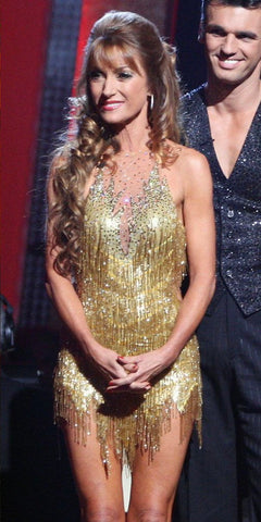 Short Gold Bugle Beaded Fringe (DWTS, Jane Seymour, Season 5)