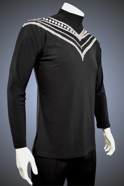LIMITED EDITION: Turtleneck Latin/Rhythm Shirt with Side Slits and Chevron Pattern Crystal AB Rhinestone Accents - Shirt by Randall Ready