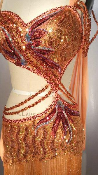 Orange Sequin with Mesh Drape - Dress by Randall Designs