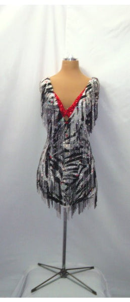 Black & White Zebra with Bugle Beads - Dress by Randall Designs