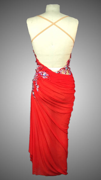 Nude and Red Mesh Grecian Style Long Rhythm Dress