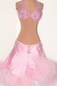 Pink Satin 2 Piece w/ Feather Skirt - Dress by Randall Designs