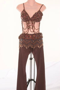 Brown Pants & Bra Top with Beads - Pantsuit by Randall Designs