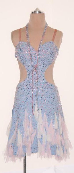 Lt. Blue with Pink & Blue Chiffon Detail - Dress by Randall Designs