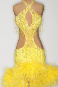 Yellow Halter w/ Feathers - 0696-L-CA8 - Dress by Randall Designs