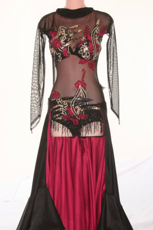 Black/Red/Gold with Tiered Skirt - Dress by Randall Designs