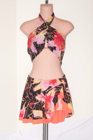Black & Neon Print with Ruffle Skirt - Dress by Randall Designs