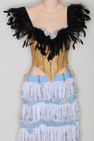 Tan Corset 2 Piece w/ Feathers & Lt. Blue Ruffle Skirt - Dress by Randall Designs