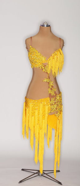 Yellow Fringe w/ Applique - 0917-L-CA9 - Dress by Randall Designs