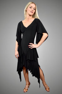 SAMBA QUEEN: Ladies Drop Neck Latin Dress with Handkerchief Sleeves and Multi-Tiered Hip Ruffles - LD106