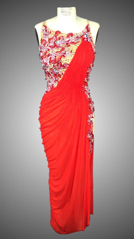 VENUS: Nude and Red Mesh Grecian Style Long Rhythm Dress