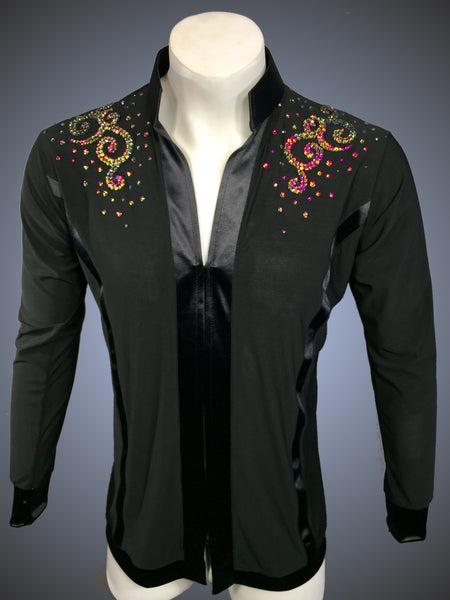 LIMITED EDITION: Mandarin Collar Latin/Rhythm Shirt with Satin Trim and Vitrail Crystal Rhinestone Accents - Shirt by Randall Ready