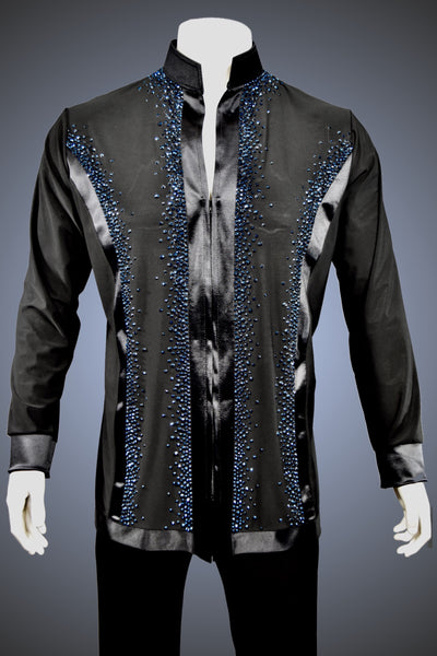 LIMITED EDITION: Mandarin Collar Latin/Rhythm Shirt with Satin Trim and Deep Navy Rhinestone Accents - Shirt by Randall Ready