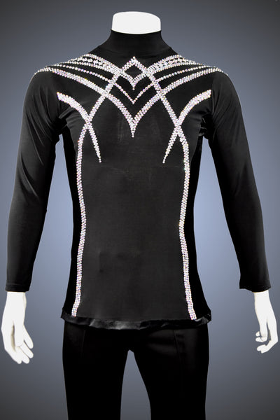 LIMITED EDITION: Turtleneck Latin/Rhythm Shirt with Velvet Side Trim and AB Rhinestone Accents - Shirt by Randall Ready