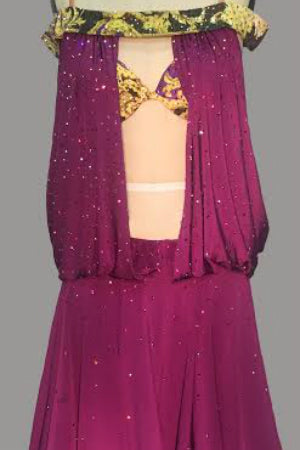 Purple Versace Print Draped - Dress by Randall Designs