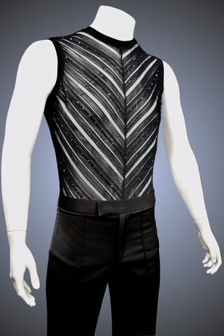 LIMITED EDITION: Crew Neck Chevron Muscle Latin/Rhythm Shirt with Hematite Rhinestone Accents - Shirt by Randall Ready
