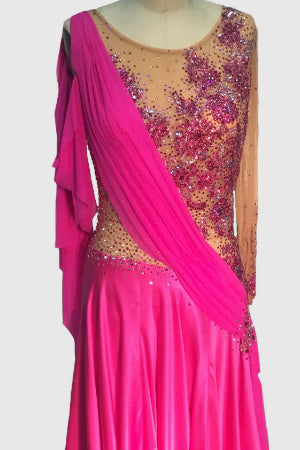 Hot Pink Grecian Draping with Nude Mesh Bodice - Dress by Randall Designs